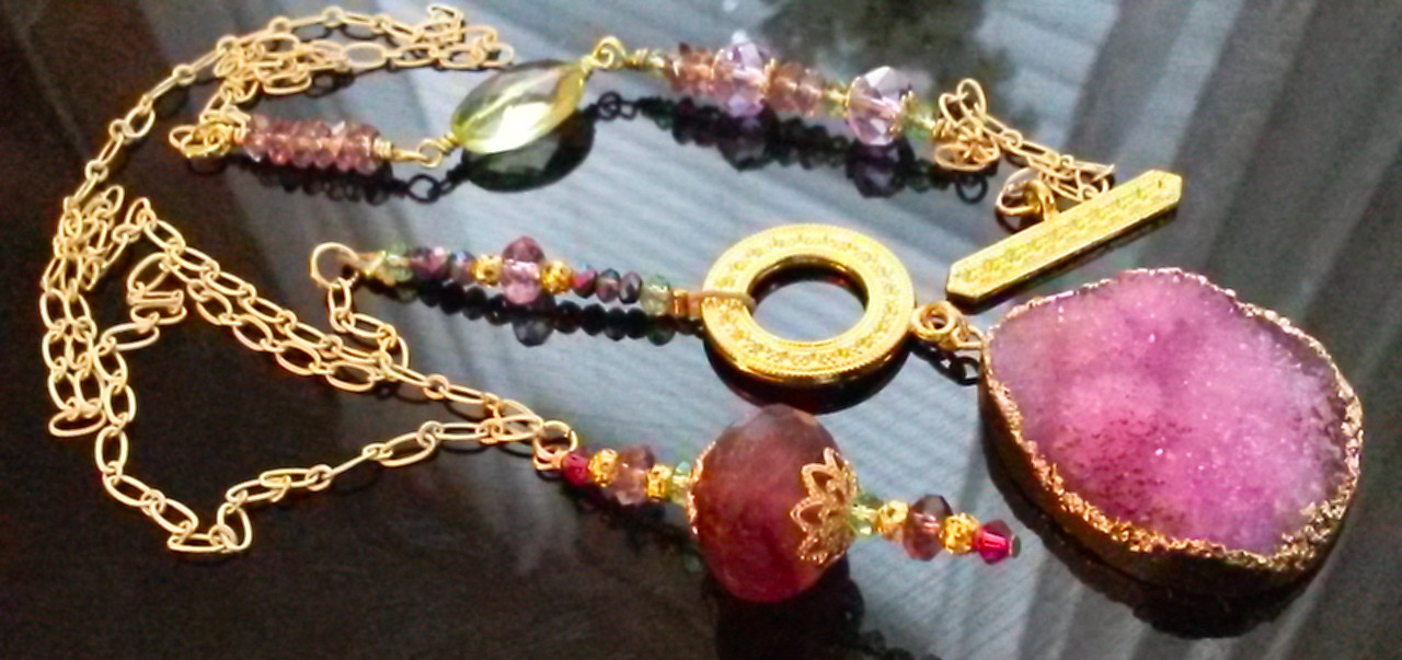 Pink Brazilian Druzy 18 Kt Gold Necklace